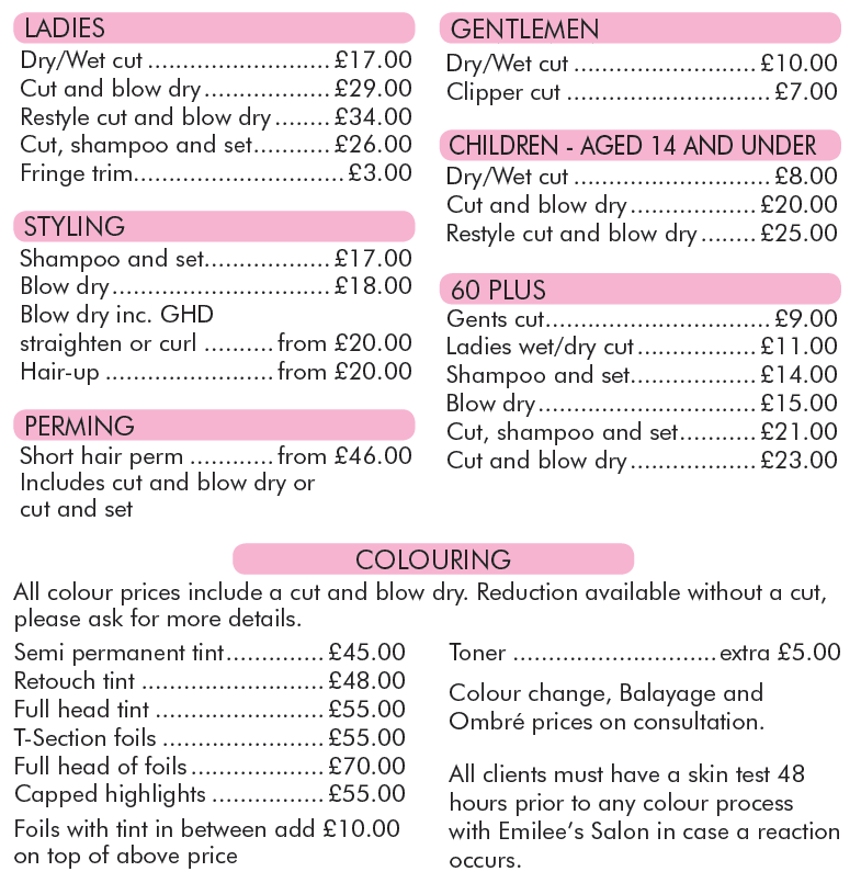 Hair Salon Prices Plymouth